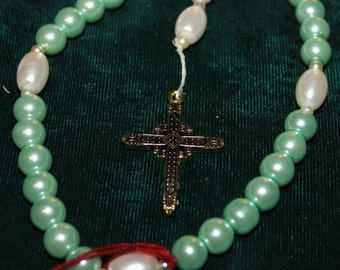 57 -- light green glass pearl and white glass pearl Anglican Rosary