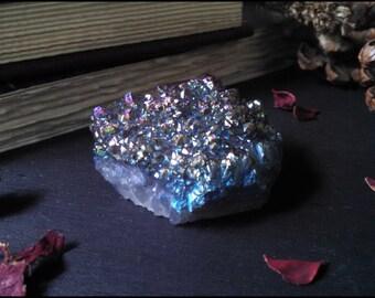 Rainbow Titanium Quartz Cluster ~ Titanium Aura Quartz ~ Aura Quartz Crystal ~ Raw Crystal ~ Home Decor ~ 84g