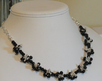 Black Spinel beaded necklace  -  210