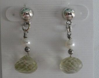 Lemon Quartz with Pearls  Earrings  -  #352