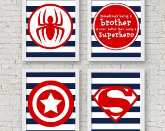 Superhero Art Collection, DIGITAL DOWNLOAD, little boys are superheroes, baby boy nursery art, brother playroom decor, navy and red nursery
