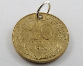 French 1983 10 Centimes  Coin Necklace or Pendant