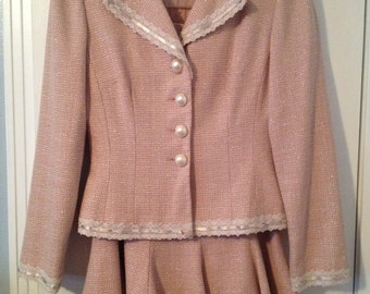 Maggy London Pink Tweed Skirt and Jacket
