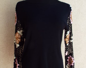 90s Black Knit Top with Crocheted sleeves. Size L -Free Shipping in the lower 48 States!