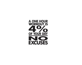 NO excuses workout decal, motivational decal, gym decal, workout room- Mitten Made Vinyl