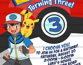 Pokemon Birthday Invitations Printable Digital File | Personalized
