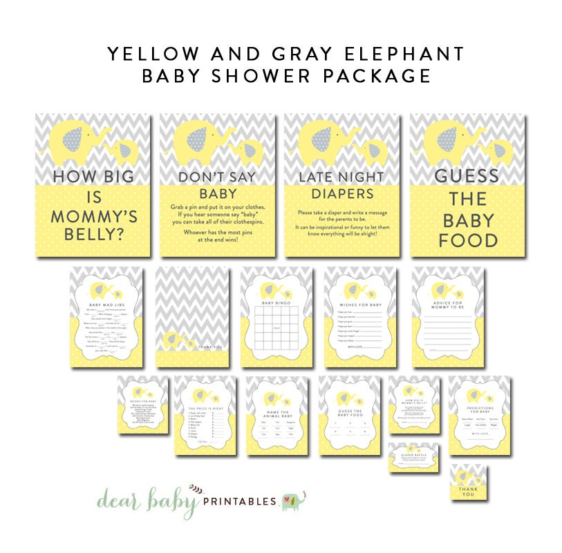yellow and gray elephant baby shower package games favors
