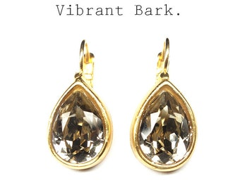 earrings brown Swarovski,pear-shaped earrings,gold plated crystal earrings,Swarovski drop earrings,gold plated eardrops,gift for girlfriend