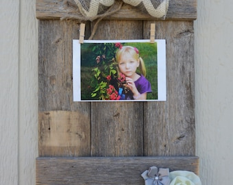 Rustic Clothes Pin Picture Holder with Burlap Bow