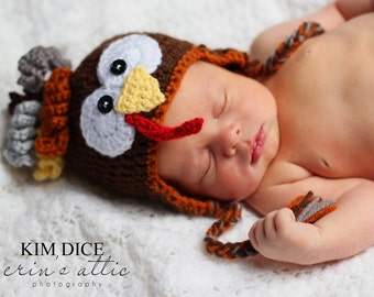 Crochet Turkey Hat, Character Hat, Baby Thanksgiving Turkey, Toddler Turkey Hat, Newborn Earflap Hat, Infant Photography Prop, Ready to Ship