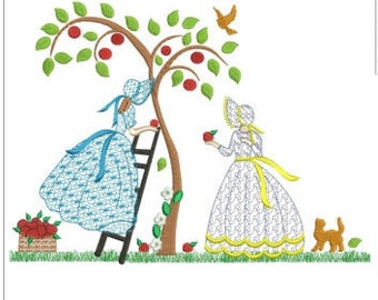 "Belles picking apples  machine embroidery download 3 different sizes (10 x7"" 8x6"" 6X5"" hoop)"