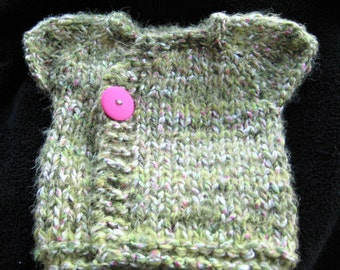 Infant Sweater / Green & Pink Girl's Sweater / Hand Knit Girl's Sweater