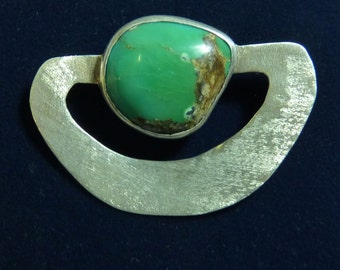 BROOCH ~ ARTISAN Sterling Silver and Turquoise Cabochon ~ OOAK ~ Estate Piece ~ Vintage ~ 1980s ~ Free Shipping