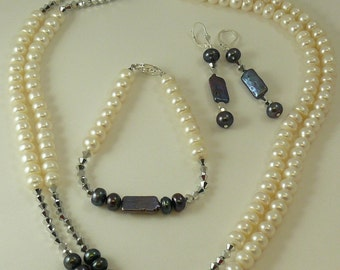 Freshwater Pearl Necklace, Earring and Bracelet and Crystal Set in Silver