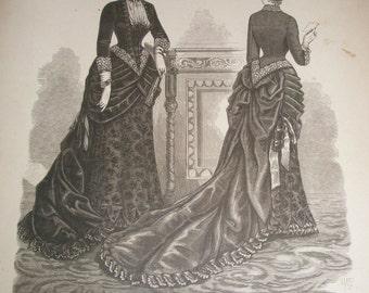 antique litho mme demorest's reliable patterns 1880s fashion plate