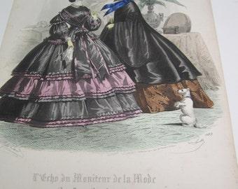antique l'echo du moniteur de la mode jules david fashion engraving 1850s with dog