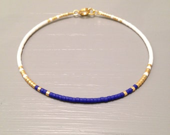 Simple Bracelet Modern Bracelet Gold Everyday Bracelet Petite bracelet cobalt Blue
