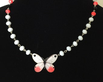 Crystal Beaded Butterfly Necklace