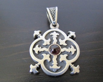 Gothic Sterling and Garnet Pendant