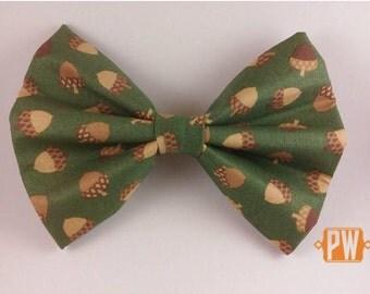 Dog bow tie, dog bowtie - Fall Acorns collar attachment bow tie