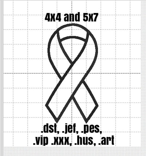 Awareness Ribbon Embroidery Applique Design, 2 sizes and 7 formats available for instant download