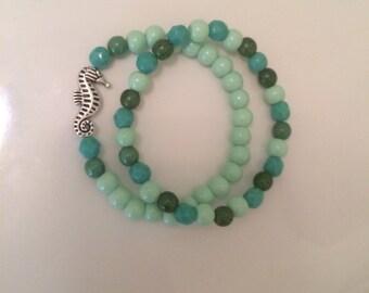 Teal blend Starfish beaded bracelet set