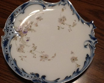 Antique Rosenthal savoy scalloped plate, blue and lavender, 1898-1906