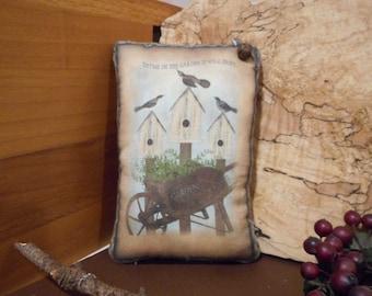 Pillow Tuck: Primitive Rustic Americana Garden Pillow Tuck.