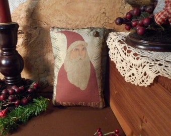Christmas Pillow Tuck: Santa Primitive Rustic Americana Pillow Tuck.
