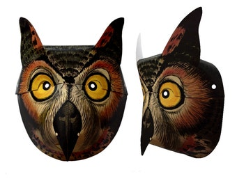 "Owl Printable Paper Mask Halloween Mask 11"" x 17"" Printable Full Color Easy To Build DIY Instant Download"