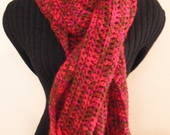 Crochet Multi Black/Red Scarf, Women's Scarf, Scarf, Crocheted Scarf