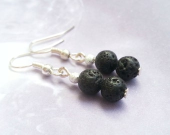 Black Lava Rock Earrings Volcanic Rock 925 Silver Gift Idea Boho Chic Natural Gemstone Dangle Earrings 6mm Round Beads great gift!