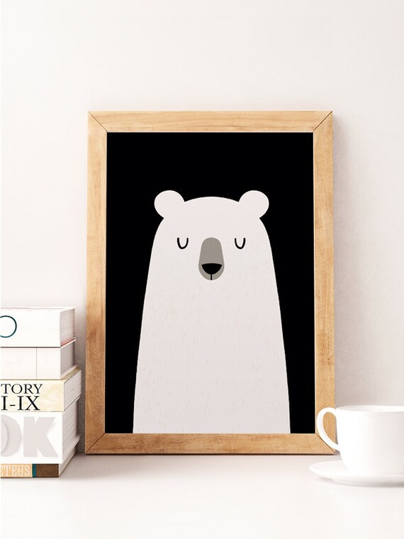 Cute Nursery Wall Decor : Bear print cute nursery wall decor art work