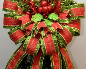 CHRISTMAS TREE TOPPER - Tree Topper - Christmas Songs - Red and Green - Christmas Decor - Poinsettia