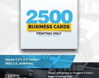 "2500 Square Business Cards 2.5"" x 2.5"",Business Cards Printing Rounded Corners, Matte or Glossy"