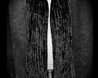 Amazing Black Chenille 1970s Knee length cardigan with puff sleeves