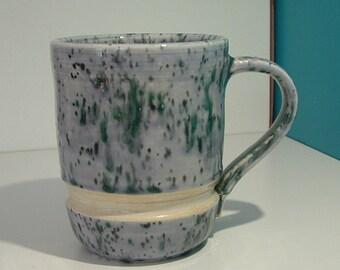 Unusual Mug, Stoneware Mug, Greens and Gray