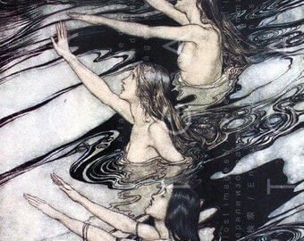 Digital Mermaid Illustration Arthur Rackham The Rhinemaidens Warn Siegfried Nibelung Ring German Myth Illustration Digital Download