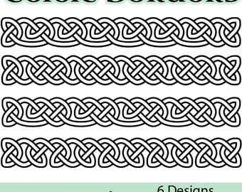 Celtic Borders Clip Art: Transparent, High-resolution PNG files of celtic knot borders for personal and commercial use in green and white