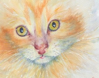 Ginger Kitten in a Giclee Print of my original watercolor painting