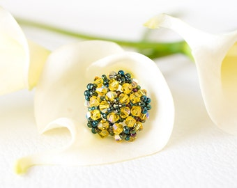Yellow Swarovski crystal ring – yellow flower ring – flower Swarovski ring - unique Swarovski jewellery – romantic ring – beaded ring