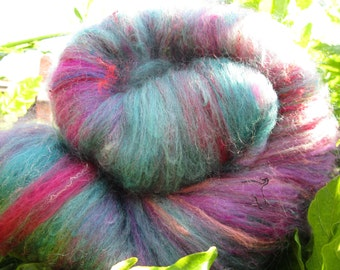 Carded blend of Merino and silk, alpaca and angora wool