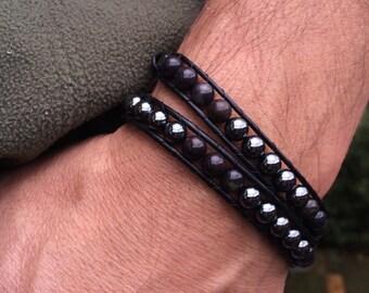 Wrap Bracelet, Wrap Bracelets, Men's Wrap Bracelet, Cuff Bracelet, Beaded Bracelet, Hematite, Poppy Jasper, Silver Italian Clasp
