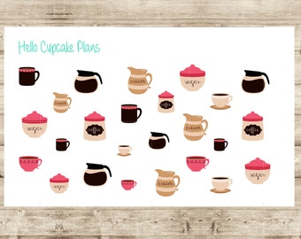 Coffee Pots and Cups Planner Stickers