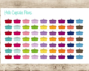 Colorful Crockpot Planner Stickers