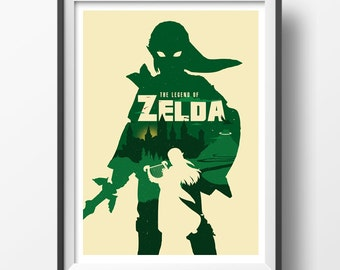 Alternative videogame poster art digital print zelda fan art wall art home decor kids nerd room geek poster