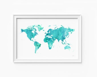 "World watercolor Map, printable file (JPEG) download and print any size between 24""x36"" and 12""x18"", Art, Wall art, home decor"