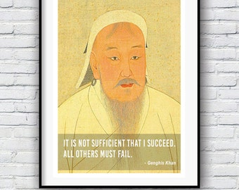 Genghis Khan, Quote poster, Typographic print, Inpirational Genius Quote, Sizes A4-A0