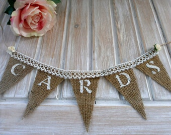 Wedding Cards Banner Rustic Wedding Banner for Card Box Banner with Burlap Lace