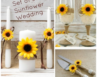 Sunflower Wedding Set Unity Candle Champagne Glasses Cake Serving Cutter Burlap Rustic Decoration Flutes Unity Candles Knife Cutters
